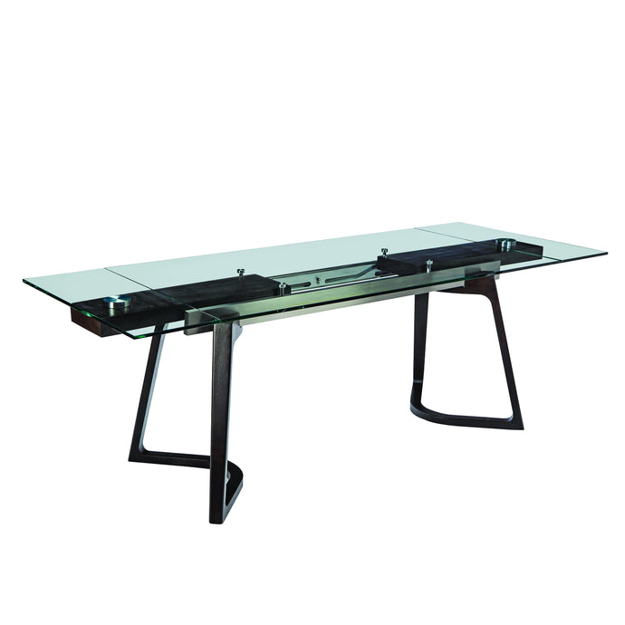 Homy Living Annapolis Oak Glass And Metal Finish Dining Table