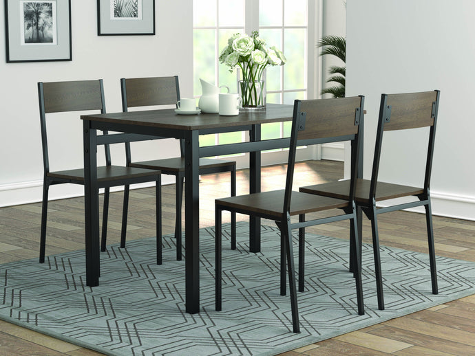 Homy Living Brown And Black Matte Wood Finish 5 Piece Dining Table Set