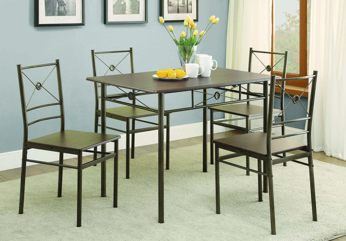 Homy Living Bronze Metal Finish 5 Piece Dining Table Set