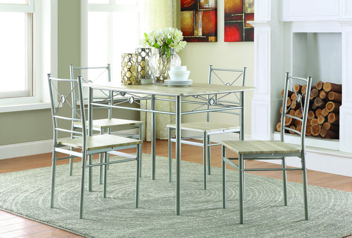 Homy Living Natural Metal Finish 5 Piece Dining Table Set