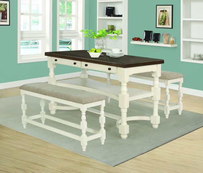 Homy Living Clanton Natural Wood Finish 3 Piece Counter Height Dining Table Set