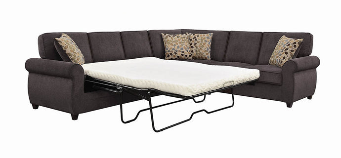 Coaster Kendrick Chocolate Chenille And Wood Finish Sectional Sofa Sleeper