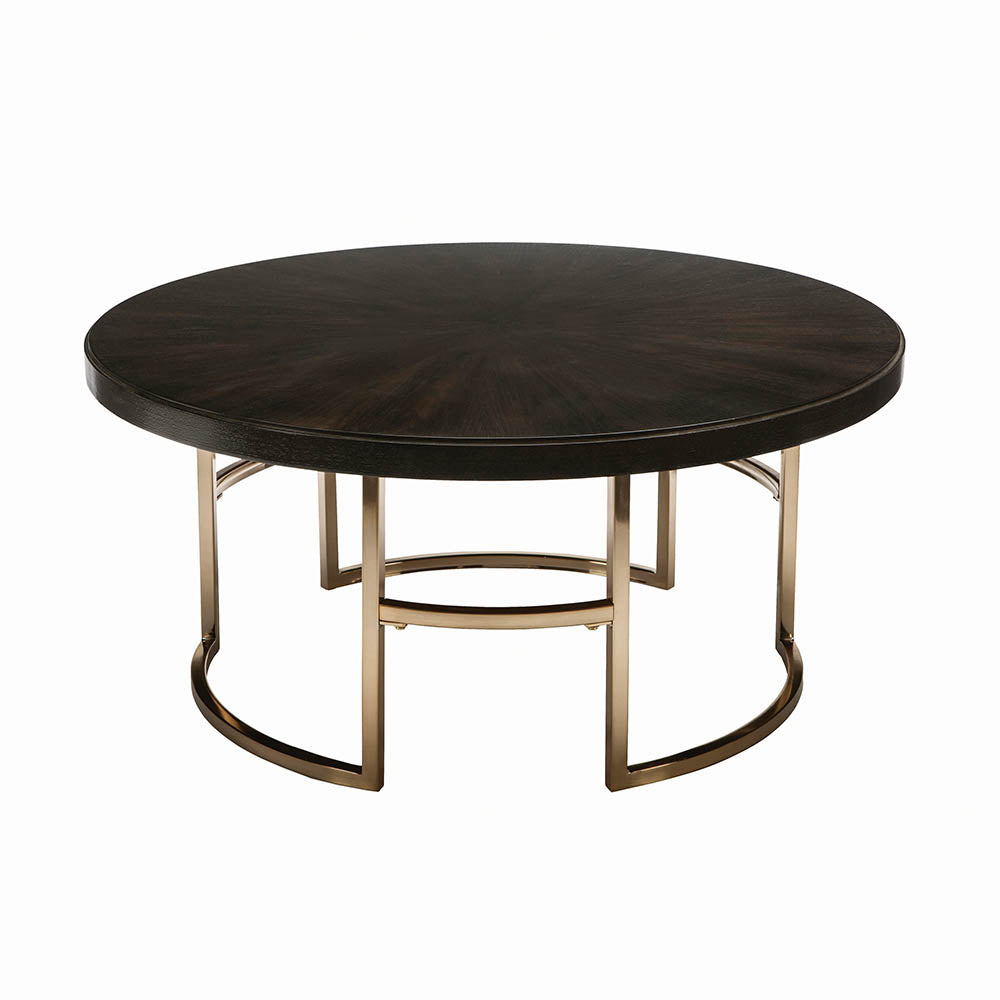 Coaster Corliss Brass Wood And Metal Finish Coffee Table