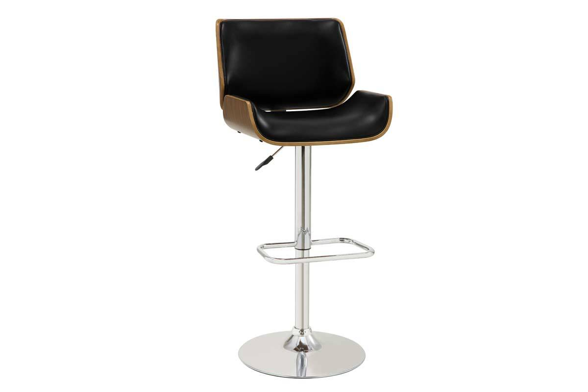 Coaster Adjustable Black Finish Upholstery Wood Outside Bar Stool