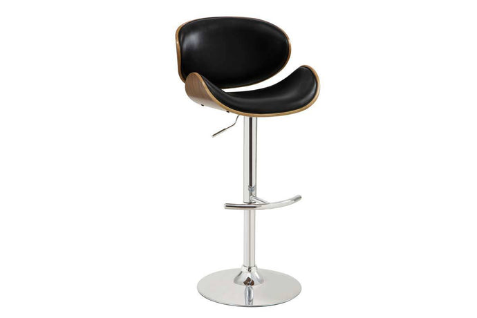 Homy Living Black Leather And Chrome Finish Bar Stool
