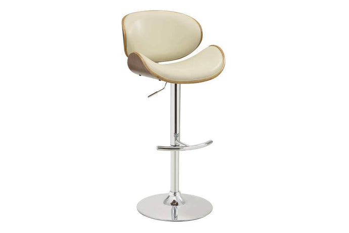 Homy Living Cream Leather And Chrome Finish Bar Stool