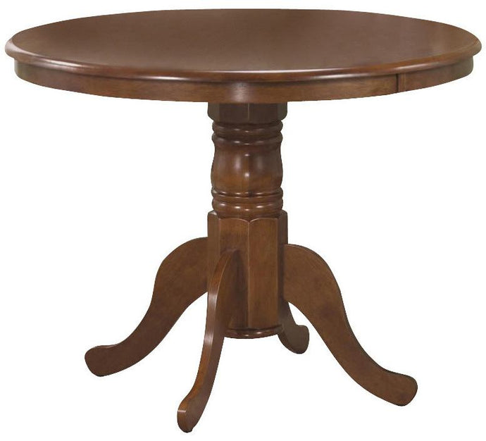 Brannan Round Single Pedestal Amber Finish Dining Table