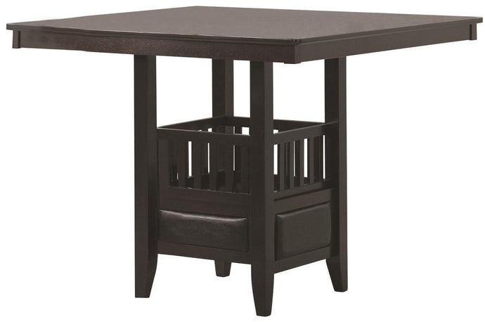 Coaster Jaden Espresso Square Storage Counter Height Table