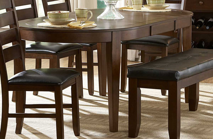 586-76 Clean Line Dark Oak Wood Oval Butterfly Leaf Dining Table