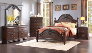 Homelegance Mont Belvieu Cherry Wood Finish 4 Piece Queen Bedroom Set