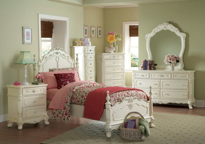 Homelegance Cinderella White Wood Finish 4 Piece Twin Bedroom Set