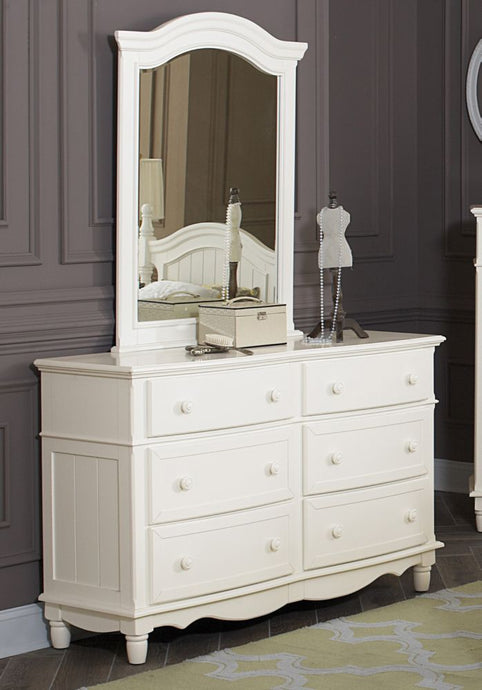 Homelegance Clementine Cottage White Wood Finish Dresser With Mirror
