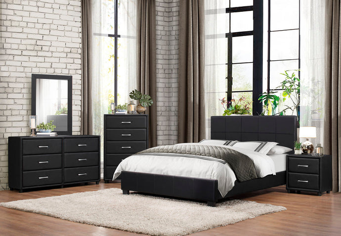 Homelegance Lorenzi 4PCs Modern Black Vinyl Queen Platform Bedroom Set