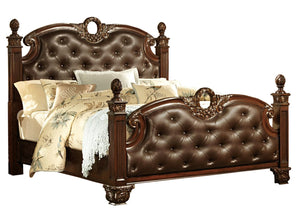 Homelegance Orleans Rich Cherry Wood And Bonded Leather Finish Queen Bed