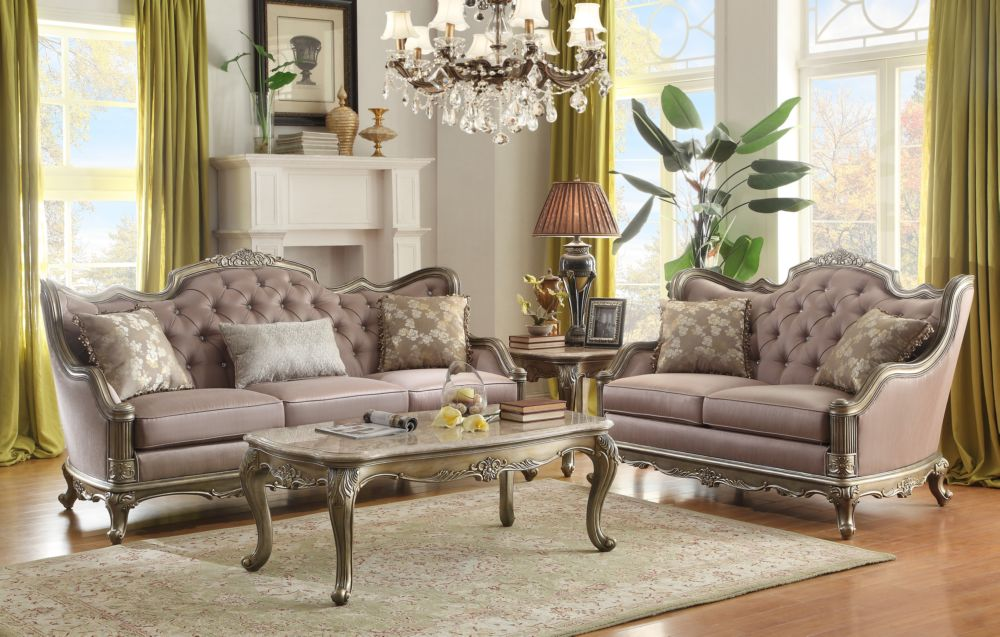 Homelegance Fiorella Taupe Faux Silk And Wood Finish 2 Piece Sofa Set