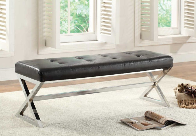 4605BK Rory Contemporary Black Bonded Leather Metal Bench X-Base