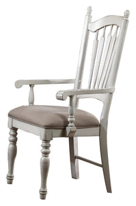 Homelegance Hollyhock White And Oak Wood Finish 2 Piece Dining Arm Chair