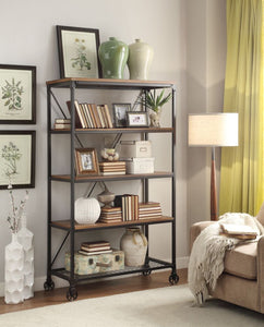 "5099-17 Millwood Rustic Industrial 40"" Wide Metal Bookshelf"