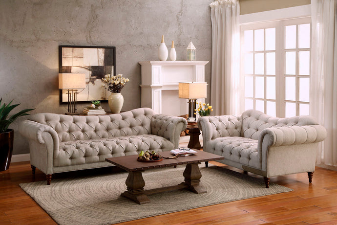 Homelegance Brown Button Tufted Almond Fabric Finish 2 Piece Sofa Set