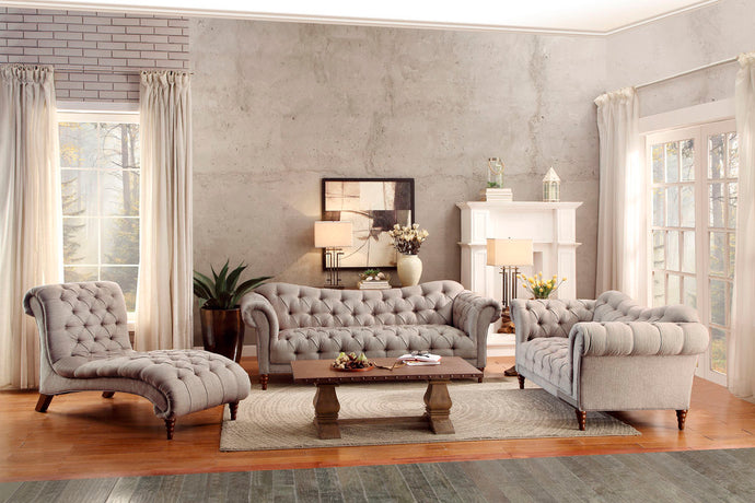 Homelegance Brown Tufted Almond Fabric Finish 3 Piece Sofa Set