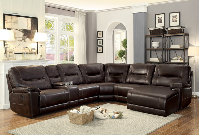 Modern Dark Brown Leather Match Reclining Sectional Sofa Set Chaise