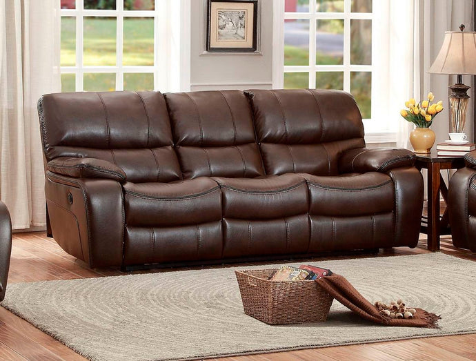 Pecos 8480BRW-3 Modern Dark Brown Leather Match Double Reclining Sofa