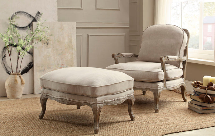 1234-1 Parlier Grey Weathered Wood Natural Fabric Accent Chair Ottoman