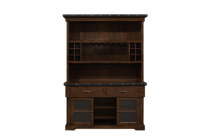 5400-50 Schleiger Modern Brushed Brown Wood China Cabinet Buffet Hutch