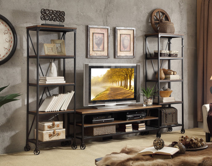 Millwood 50990-T Industrial Ash Wood Metal TV Stand Entertainment Unit