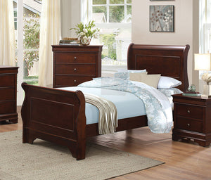 1856T-1 Traditional Louis Philippe Brown Cherry Kid Twin Sleigh Bed