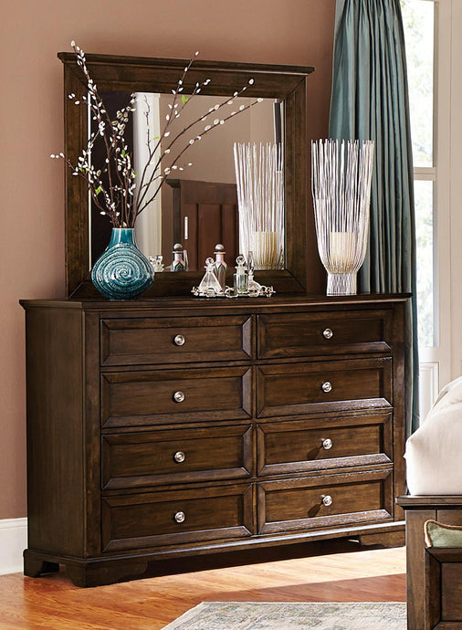 1844DC-5 Eunice 2PC Traditional Espresso Wood Dresser Mirror Set
