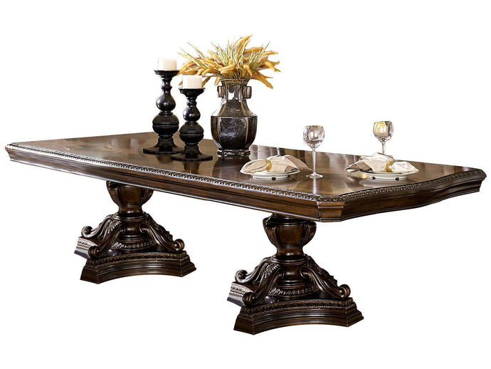 Bonaventure Park Traditional Cherry Wood Pedestal Leaves Dining Table