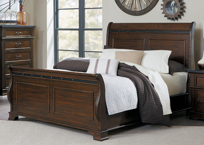 Schleiger Rustic Industrial Burnished Brown California King Sleigh Bed