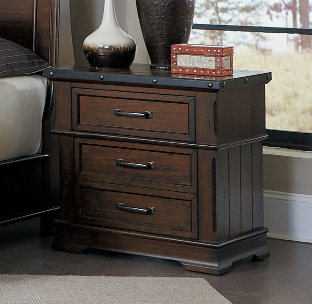 Homelegance Schleiger Burnished Brown Wood Finish Nightstand