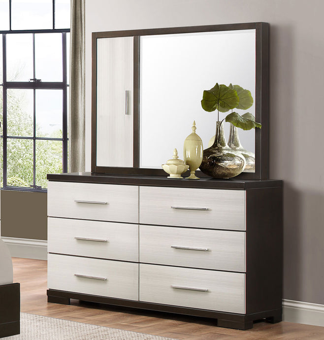 Pell 1967W-5 2PCs Ultra Modern Espresso White Wood Dresser Mirror Set