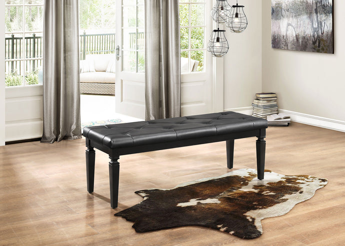 Allura Contemporary Tufted Black Vinyl Bedroom Bench