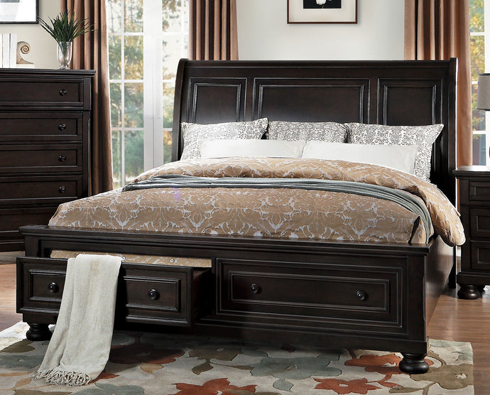 Begonia Country Gray Storages California King Sleigh Platform Bed