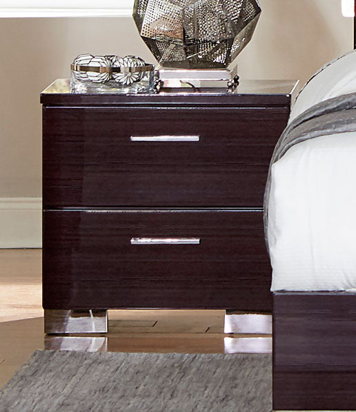 Homelegance Moritz Walnut High Gloss Wood Finish Nightstand