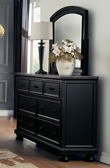 Laurelin 1714BK-5 2PCs Casual Black Sandthrough Dresser Mirror Set