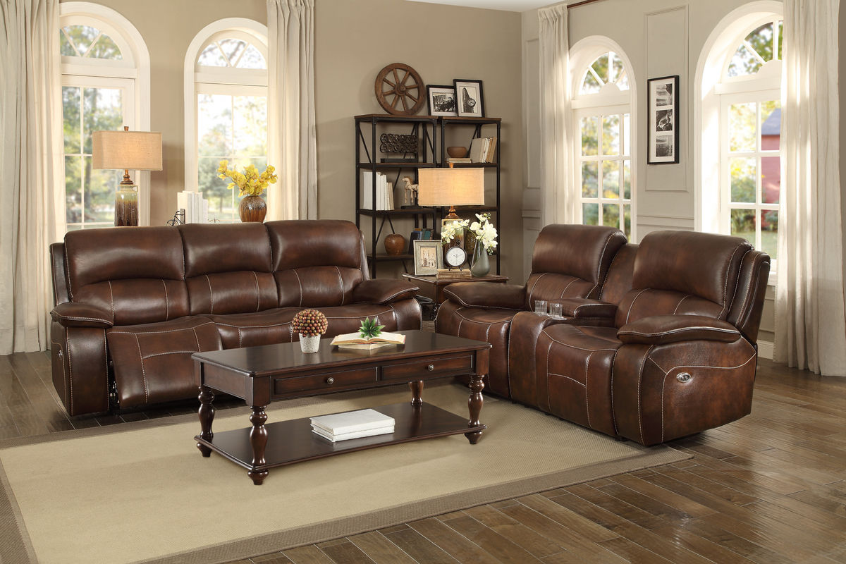 Homelegance Mahala Brown Top Grain Leather Finish 2 Piece Power Recliner Sofa Set