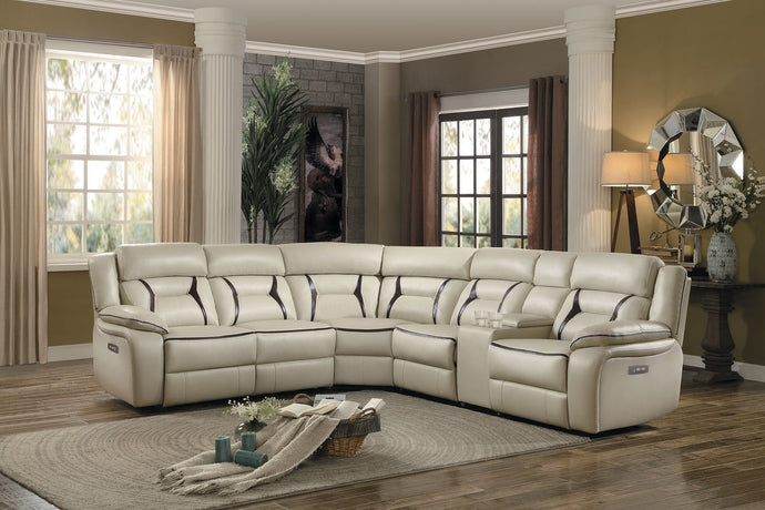 Homelegance Amite Beige Gel Leather Finish 6 Piece Sectional Sofa