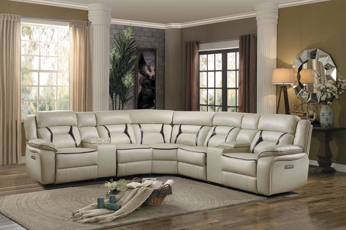 Amite 7P Tufted Beige Leather Match Power Reclining Sectional Sofa Set