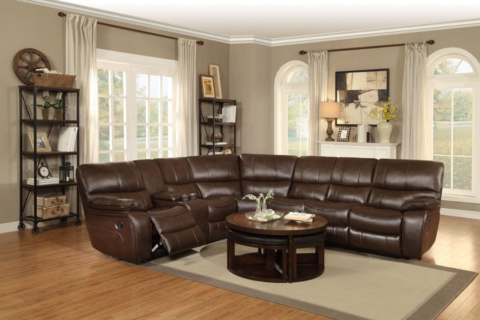 Pecos 4PC Tufted Dark Brown Leather Match Reclining Sectional Sofa Set