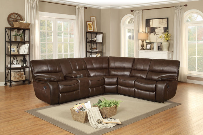 Pecos 3PC Modern Dark Brown Leather Match Reclining Sectional Sofa Set