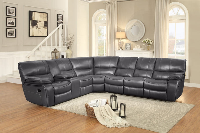 Pecos 4P Modern Tufted Grey Leather Match Reclining Sectional Sofa Set