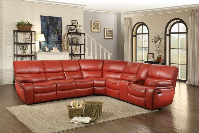 Pecos 4PC Modern Tufted Red Leather Match Reclining Sectional Sofa Set