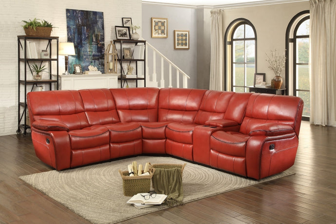 Pecos 3PCs Tufted Red Leather Gel Match Reclining Sectional Sofa Set