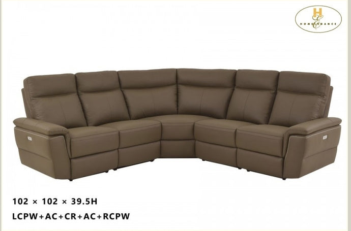 Olympia Raisin Top Grain Leather Corner Power Reclining Sectional Sofa