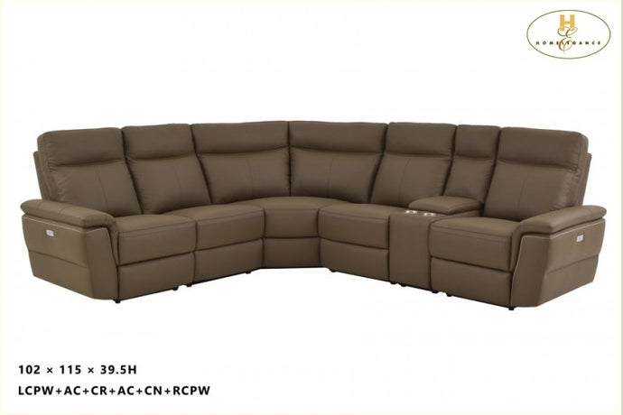 Olympia 6PCs Top Grain Leather Corner Power Reclining Sectional Sofa