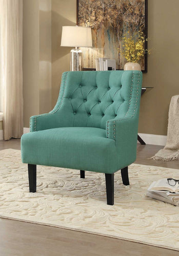 Charisma Traditional Button Tufted Teal Fabric Accent Chair Nailhead